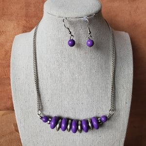 Unique purple chain bead necklace and earrings
